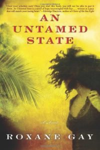 Cover for An Untamed State by Roxane Gay showing a yellow background with a large feathery green leaf and a woman facing away, running