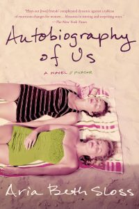 Book cover for Autobiography of Us by Aria Beth Sloss showing two girls lying on a towel on the beach