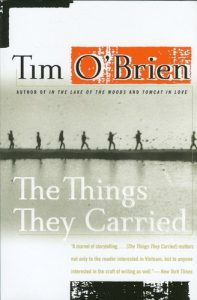 Cover of The Things They Carried by Tim O'Brien showing a distant image of people walking along a narrow strip of land