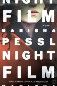 Cover for Night Film by Marisha Pessl that shows a woman in an orange coat