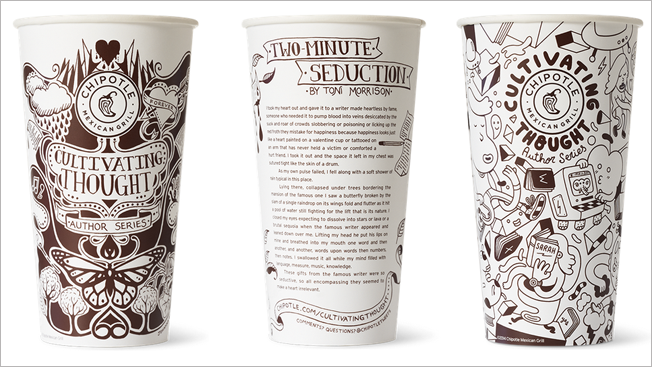 Photo of three to-go drink cups with busy mural-like illustrations all over them