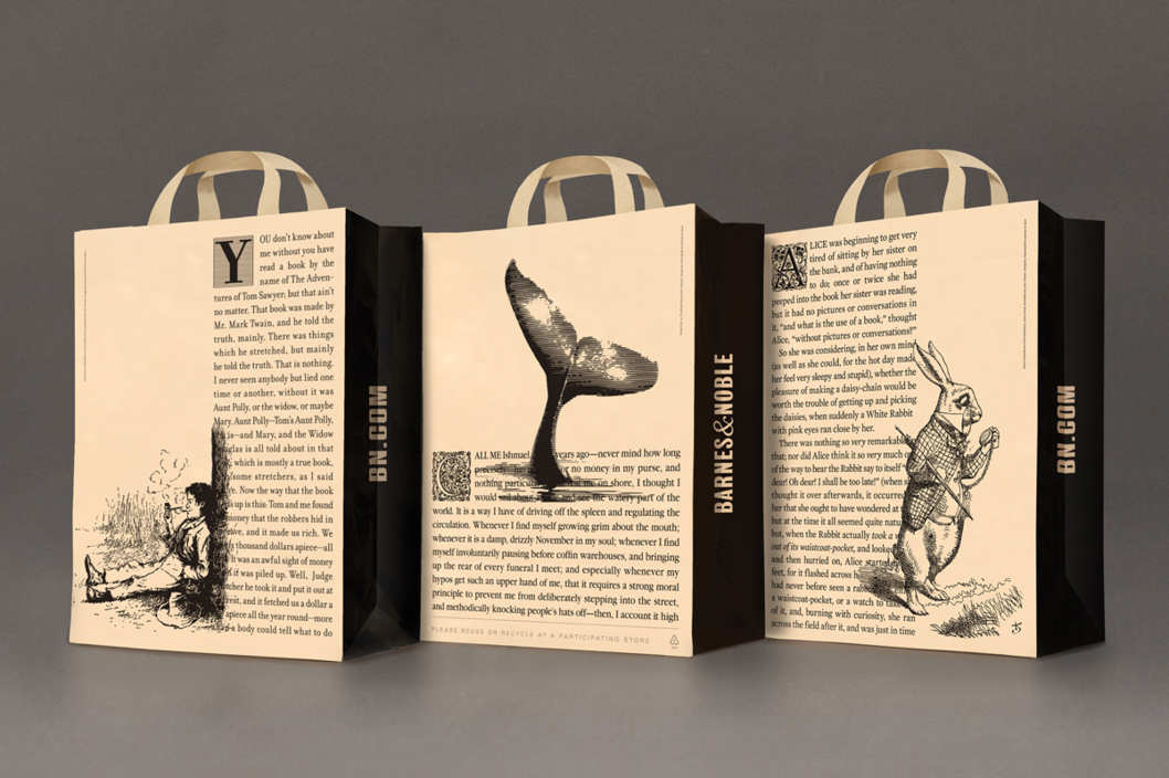 Image of three Barnes and Noble shopping bags with black and white illustrations and text excerpts from classic novels