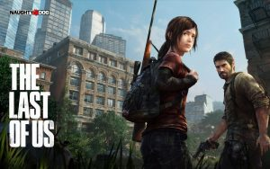 Banner for The Last of Us showing a girl and adult man holding guns in front of city buildings
