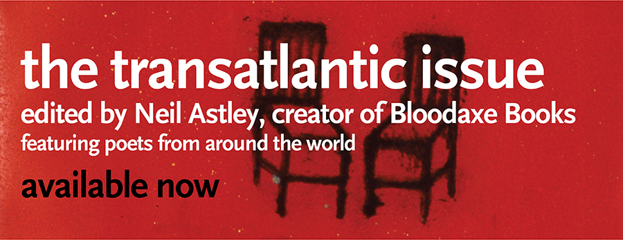 Banner advertising The Transatlantic issue of Ploughshares, edited by Neil Astley, the creator of Bloodaxe Books