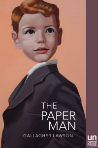 Book cover with a painting of a small red haired boy without a neck wearing a suit and looking to the side