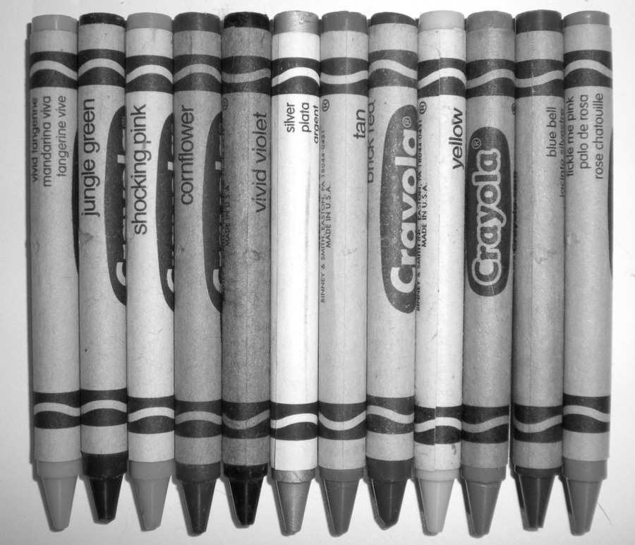 Black and white photo of crayons