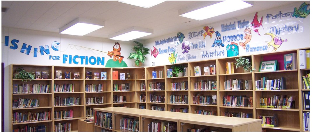 Photo of a children's library with colorful images of fish on the wall