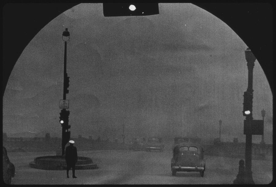 Black and white photo of Pittsburgh smog