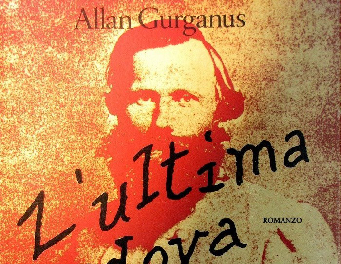 Cover of a book by Allan Gurganus that shows a red and yellow imposed portrait of a man