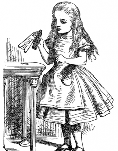 "Drawing of a small girl holding a bottle labeled ""Drink Me"""