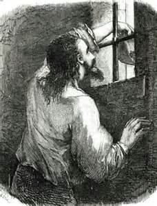 Drawing of a man sticking his hand out of a window