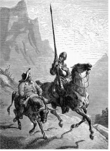 Black and white drawing of a man in full body armor riding a horse with a large spear