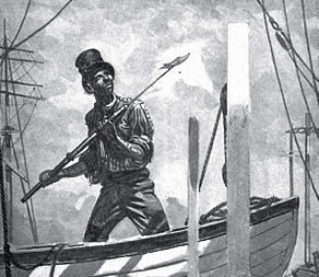 Black and white drawing of a man on a boat holding a fishing spear