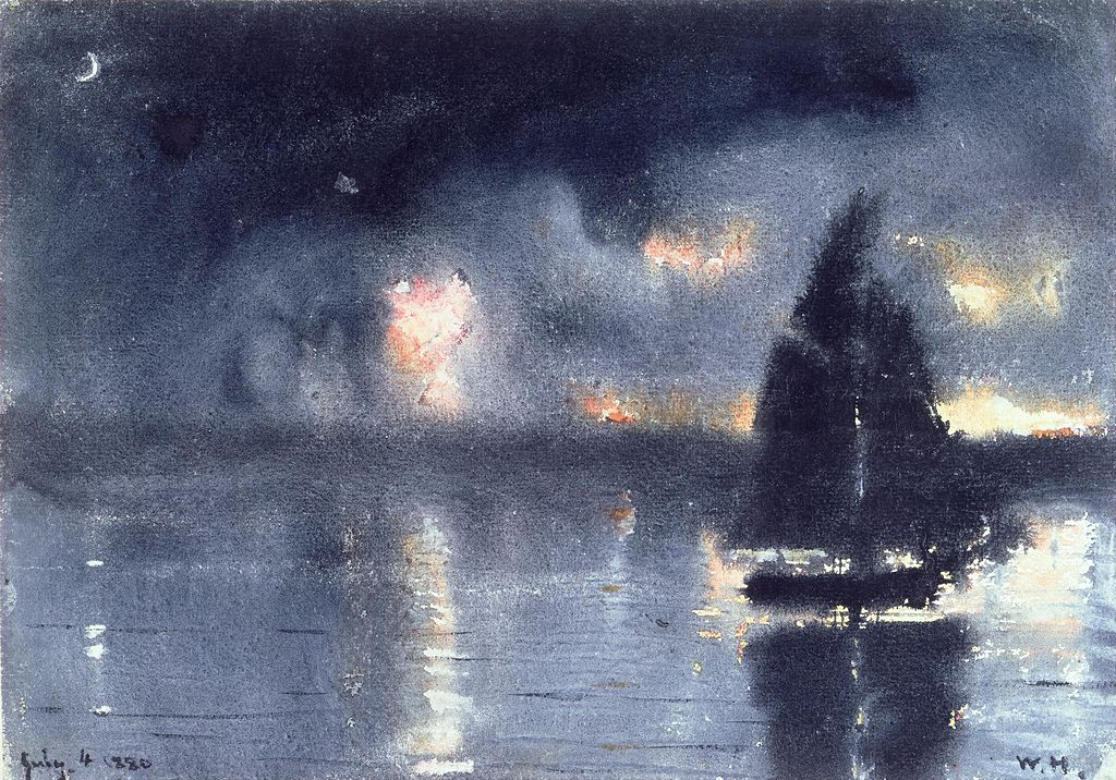 Painting of a boat on the water with fireworks in the sky