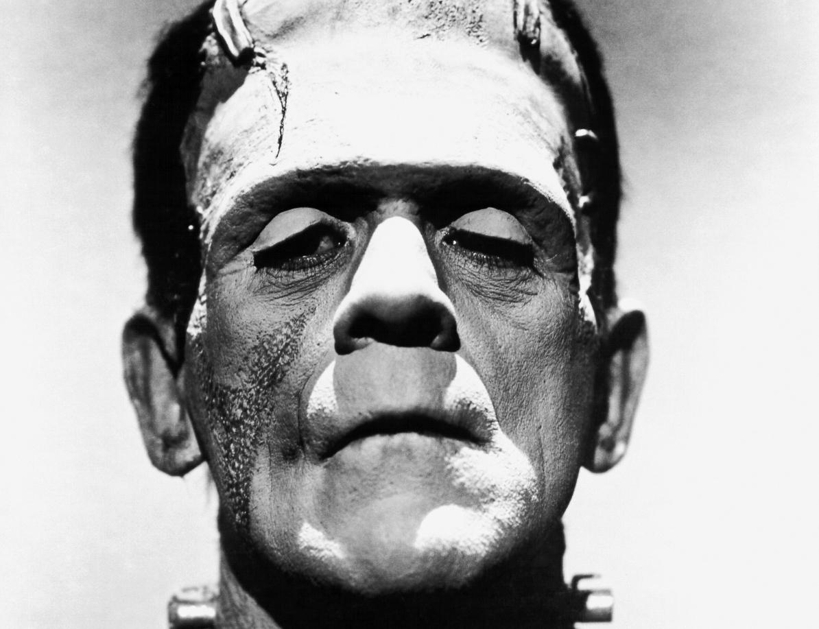 black and white photo of Frankenstein's monster