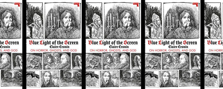 side by side series of the cover of Cronin's Blue Light of the Screen