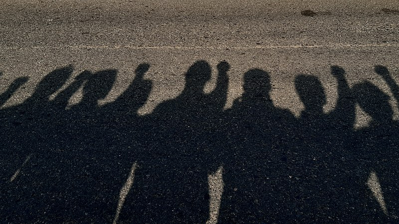 """photo titled """"Shadows of comrades at Kannur"""" depicts the shadows of a group standing side by side with fists raised"""