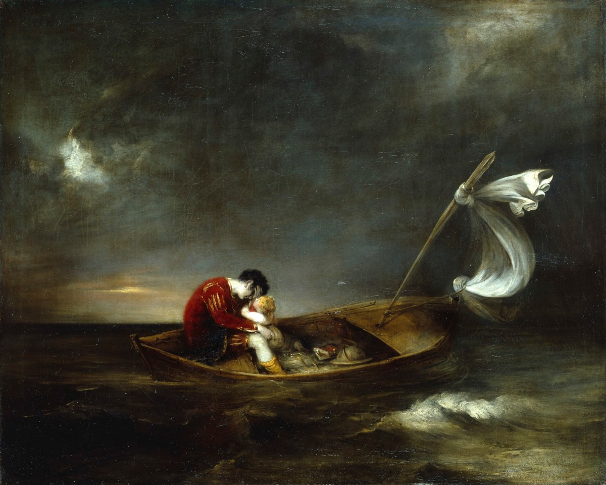 oil painting of prospero and miranda in a ship--prospero wears a red tunic, and weeps and is comforted by baby miranda as they sail on a dark body of water